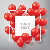 Flying Realistic Glossy Red Balloons with square white blank and frame, celebrate concept on white background, vector illustration