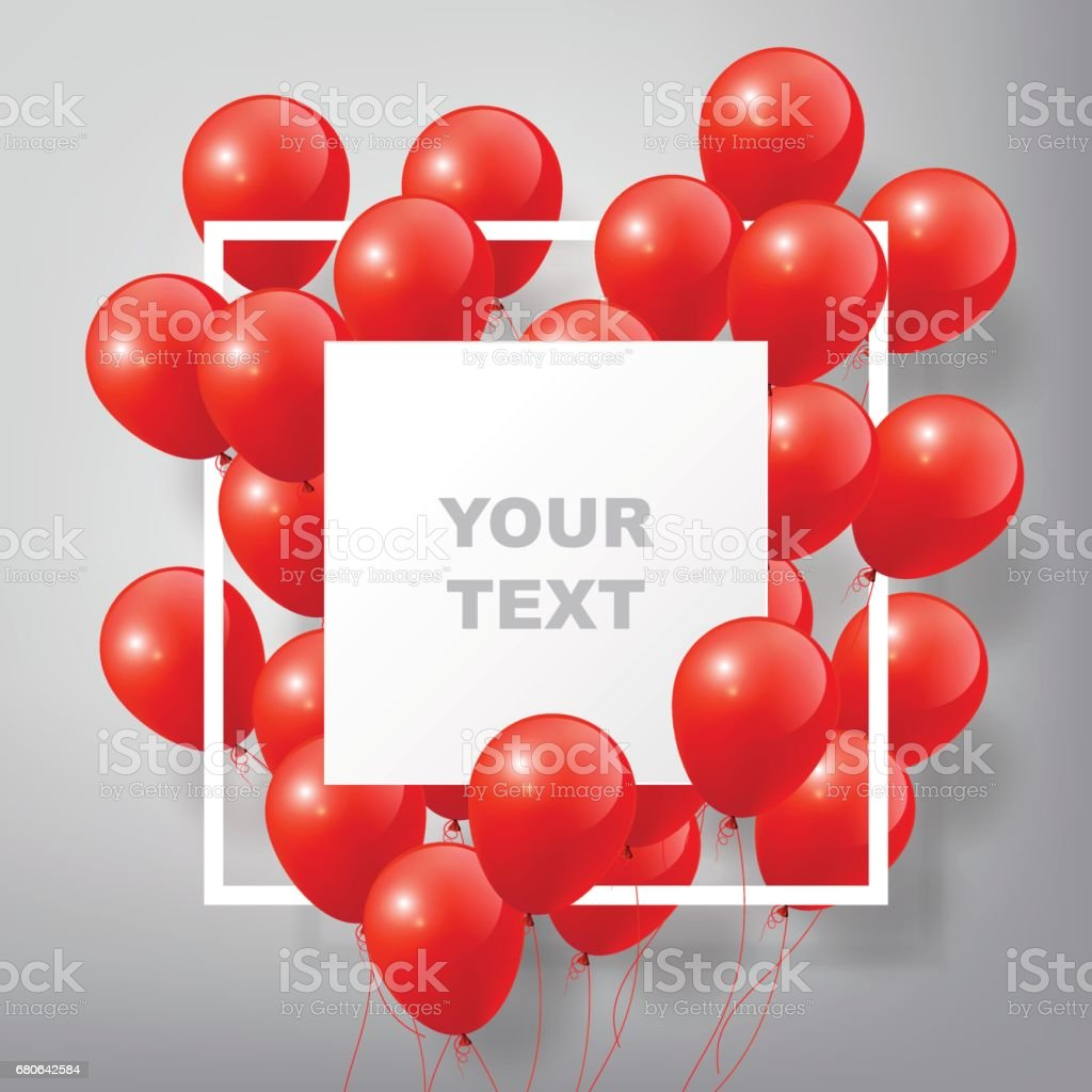 Flying Realistic Colorful Balloons, square white frame, celebrate concept vector art illustration