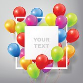Flying Realistic Glossy Colorful Balloons with square white blank and frame, celebrate concept on white background, vector illustration