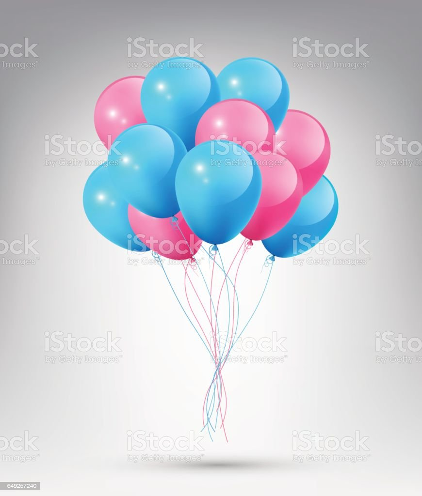 Flying Realistic Glossy Blue and Pink Balloons, Party Celebration concept vector art illustration