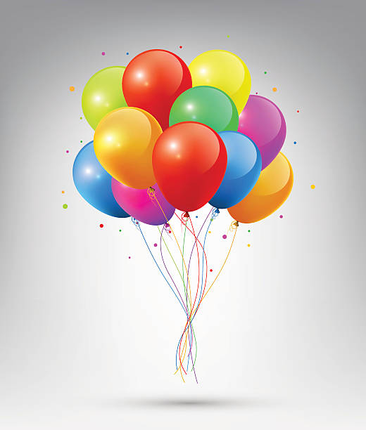 Flying Realistic Glossy Colorful Balloons, vector vector art illustration