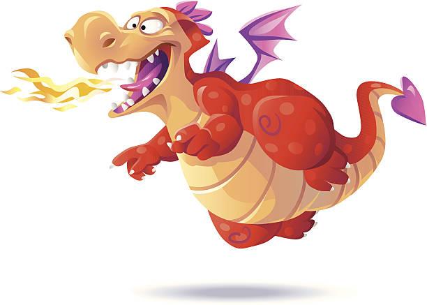 illustrations, cliparts, dessins animés et icônes de dragon volant rouge - dragon