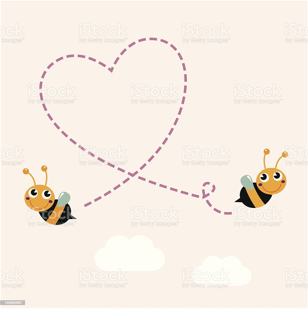 Flying retro bees making big love heart in the air royalty-free stock vector art
