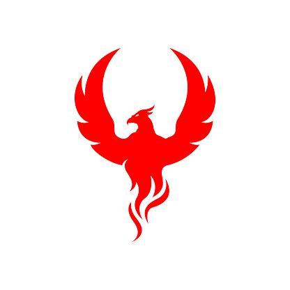 flying rise wings fire phoenix bird Logo design vector illustrations