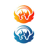 flying rise wings fire phoenix bird Logo design vector illustrations