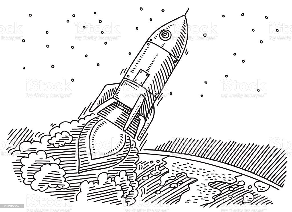 Flying Rocket Leaving Planet Earth Drawing Stock