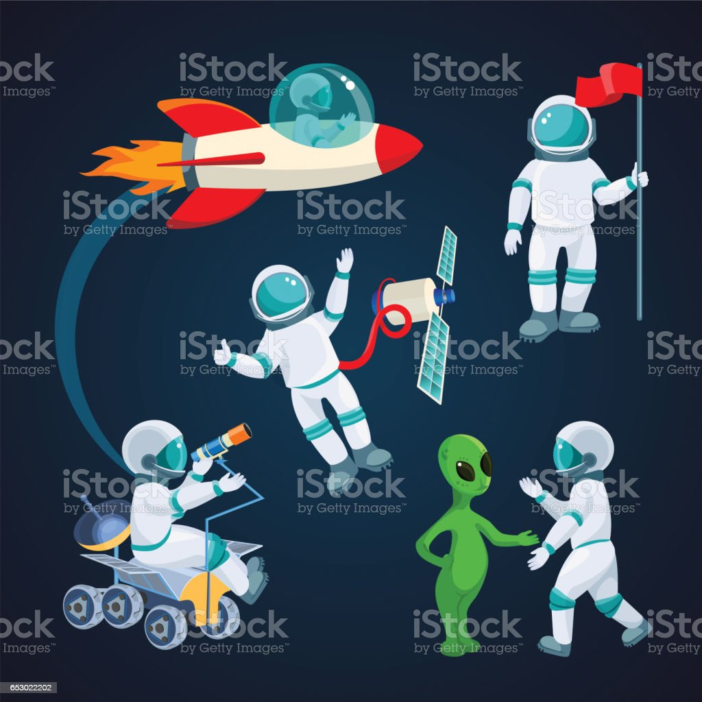 Flying rocket, spaceman with satellite, alien speaking to astronaut isolated - illustrazione arte vettoriale