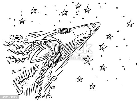 Hand-drawn vector drawing of a Rocket, which is Flying To The Stars. Black-and-White sketch on a transparent background (.eps-file). Included files are EPS (v10) and Hi-Res JPG.
