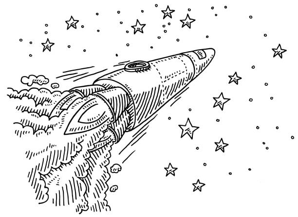 Flying Rocket To The Stars Drawing Hand-drawn vector drawing of a Rocket, which is Flying To The Stars. Black-and-White sketch on a transparent background (.eps-file). Included files are EPS (v10) and Hi-Res JPG. transportation stock illustrations