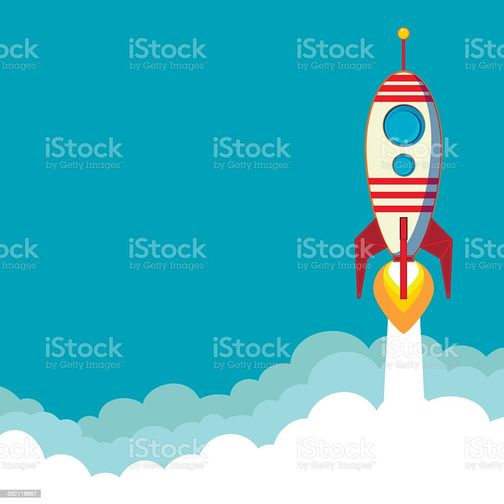 Flying Rocket with space for text vector art illustration