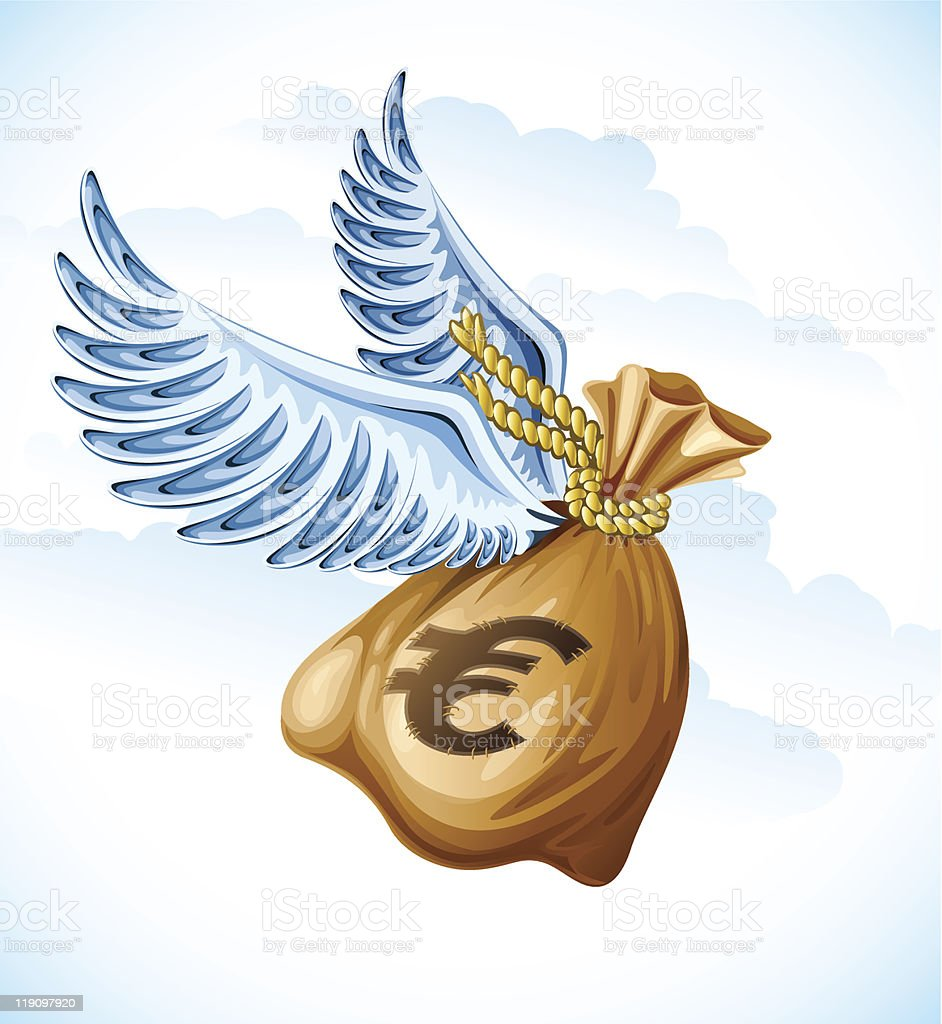 flying sack of euro money with wings royalty-free stock vector art