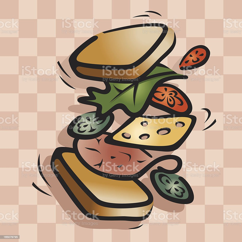 Flying Sandwich Vector royalty-free stock vector art