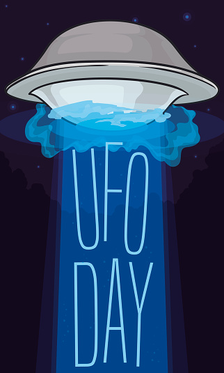 Flying Saucer Abducting Commemorative Sign for UFO Day in the Night