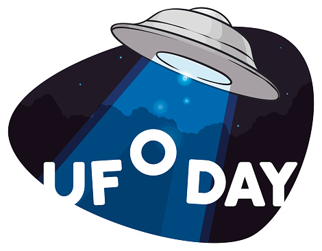 Flying Saucer Abducting the Commemorative Sign for UFO Day