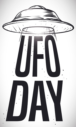 Flying Saucer Draw Abducting Commemorative Sign of UFO Day