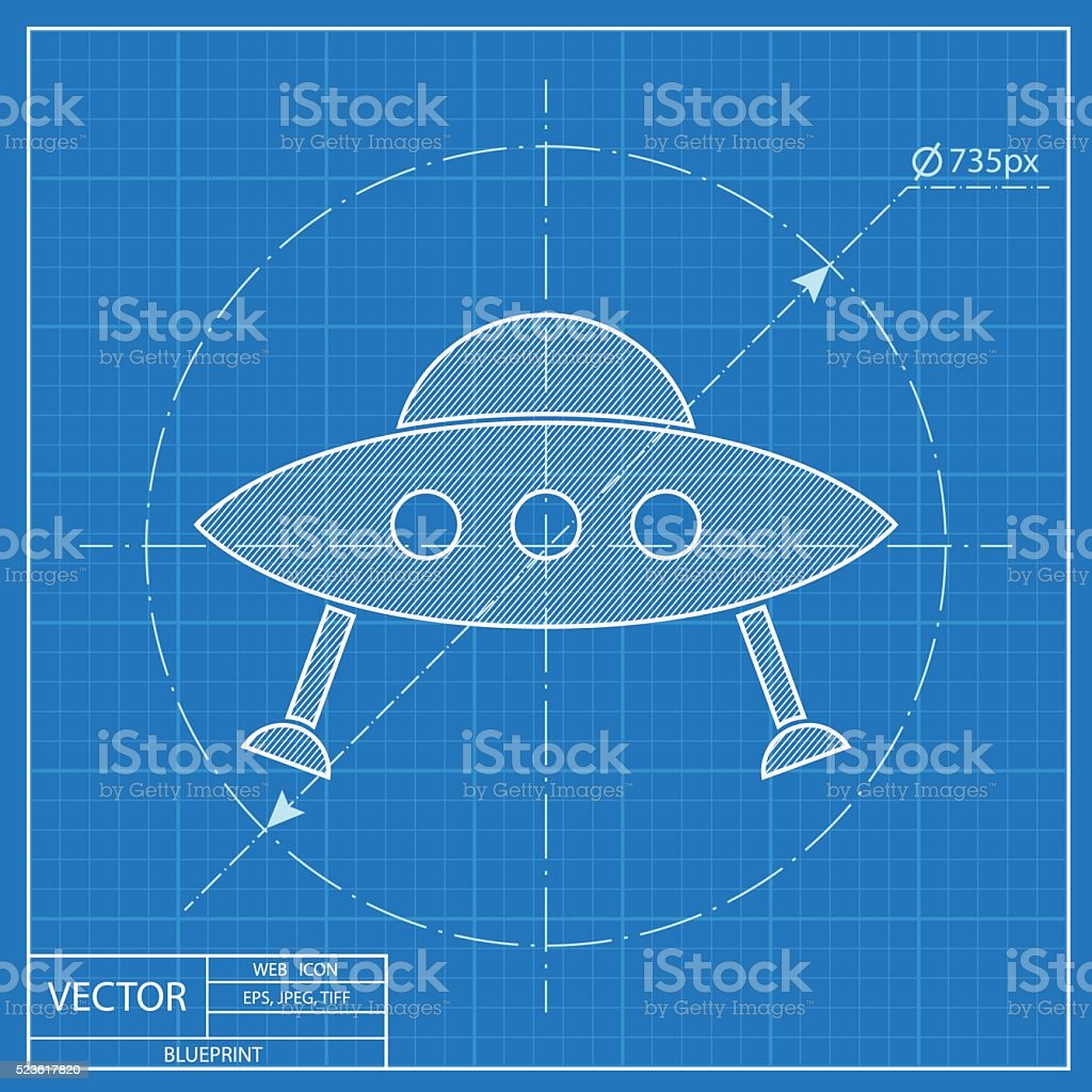 Ufo flying saucer icon blueprint style stock vector art more blueprint style royalty free ufo flying saucer icon blueprint style malvernweather Images