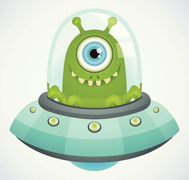 stockillustraties, clipart, cartoons en iconen met flying saucer - buitenaards wezen