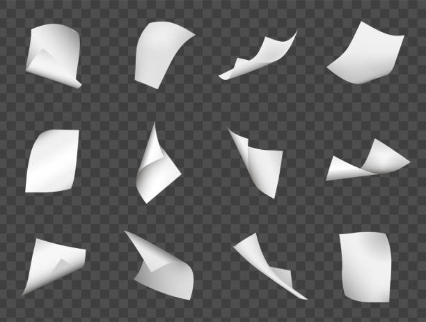 Flying sheets of paper Flying sheets of paper. Falling, scattered office white blank paper for writing or printing on sheets in motion, documents or letters flying stock illustrations