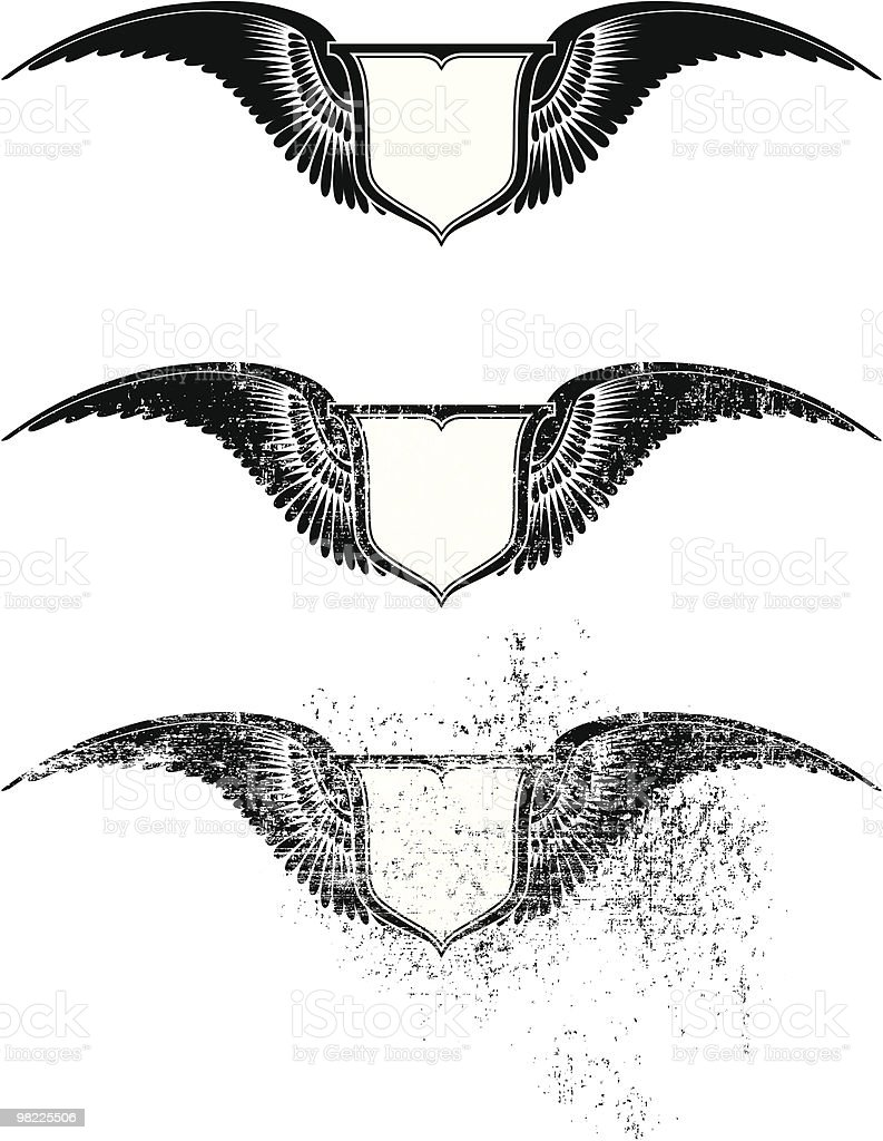 Flying Shield royalty-free flying shield stock vector art & more images of animal wing