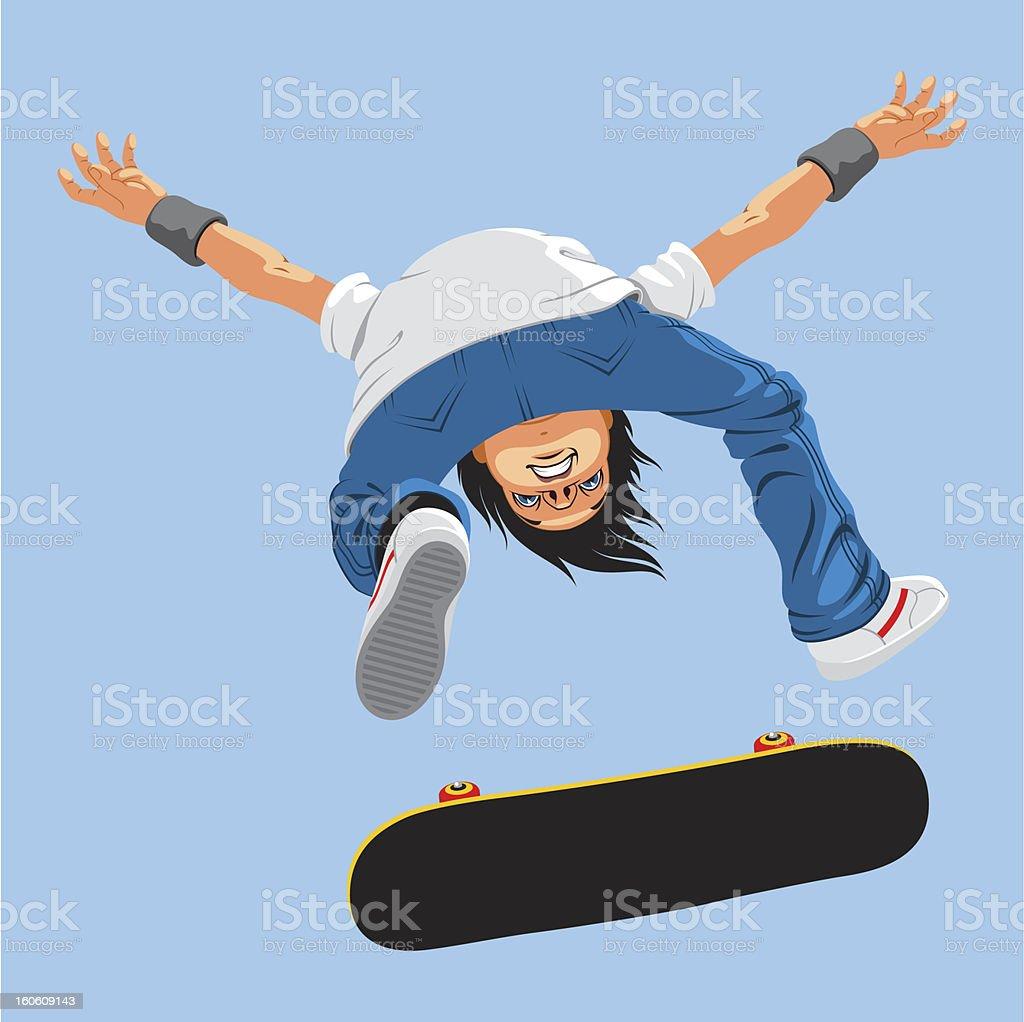 flying skater vector art illustration