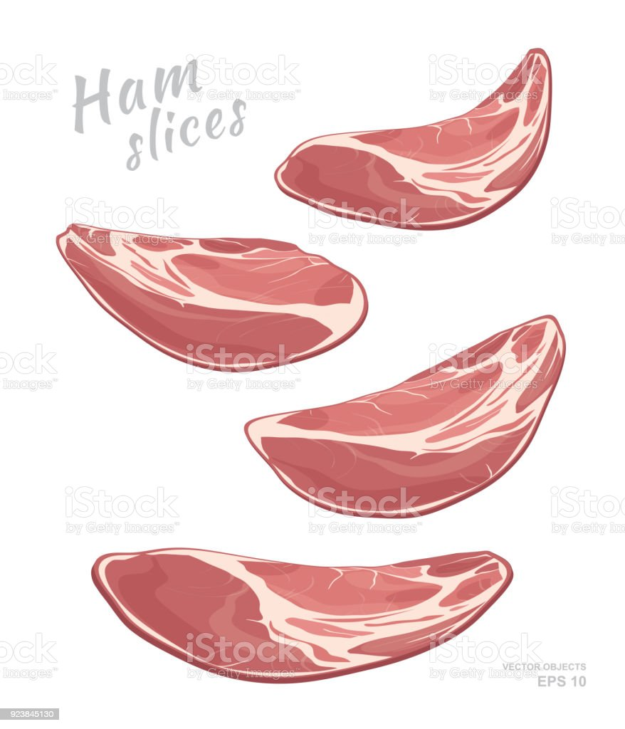 Flying slices of ham  isolated on white background. Meat delicatessen product. Vector gastronomic illustration vector art illustration