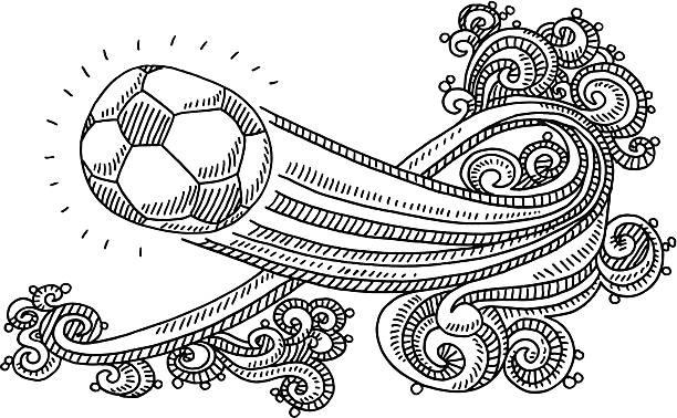 Flying Soccer Ball Swirl Pattern Drawing Hand-drawn vector drawing of a flying Soccer Ball and a Swirl Ornament Pattern. Black-and-White sketch on a transparent background (.eps-file). Included files are EPS (v10) and Hi-Res JPG. soccer stock illustrations