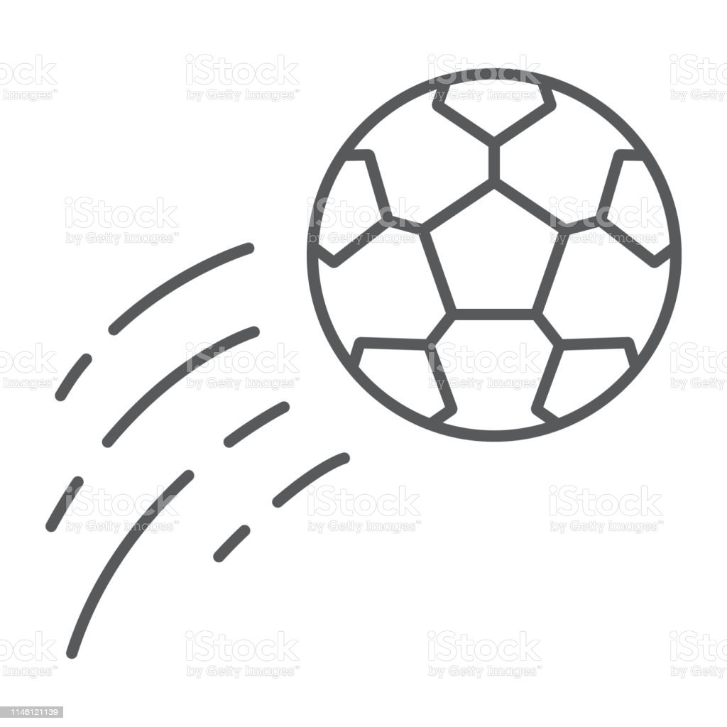 Flying soccer ball thin line icon, game and sport, football sign,...