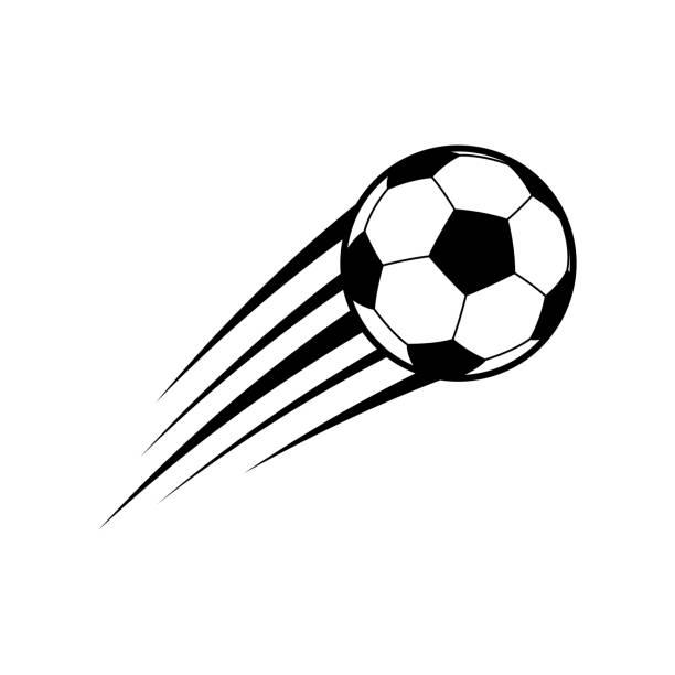 bildbanksillustrationer, clip art samt tecknat material och ikoner med flygande fotboll. vektor - fotboll