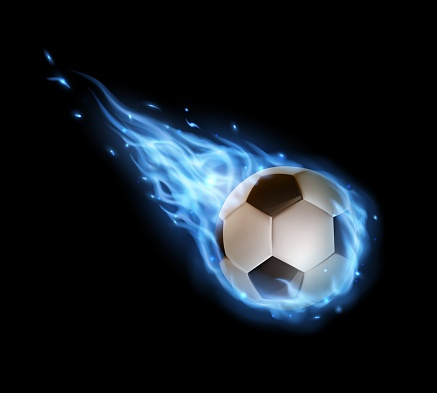 Flying soccer ball with blue fire trails, sports
