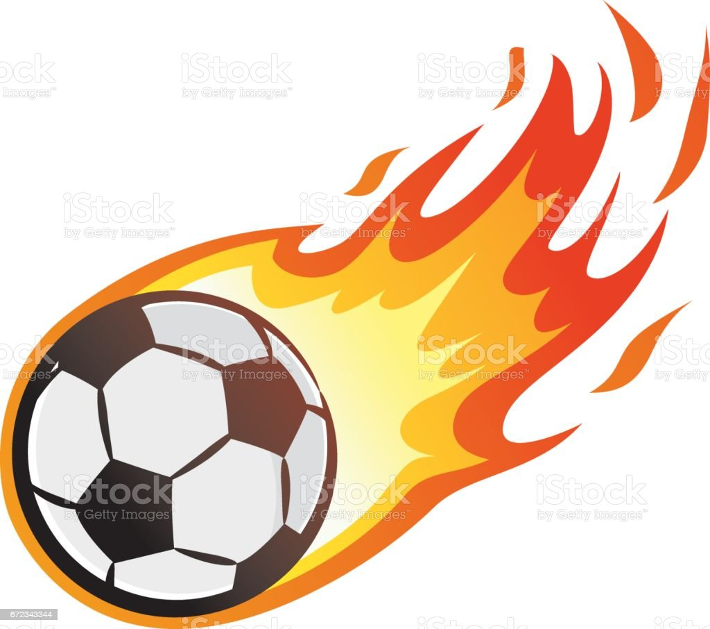 Flying soccer ball with flame vector art illustration