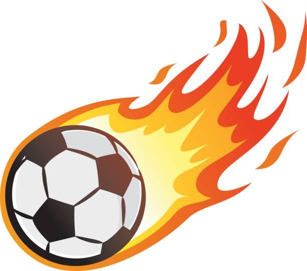 bildbanksillustrationer, clip art samt tecknat material och ikoner med flygande fotboll med låga - fotboll eld