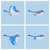Vector illustration of cartoon flying Splendid Fairy Wren (female) sprite sheet. Can be used for GIF animation