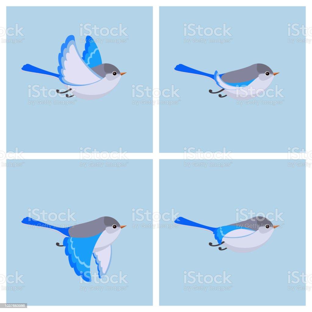 すばらしい妖精ミソサザイ (女性) アニメーションのスプライト シートを飛んでください。 ベクターアートイラスト