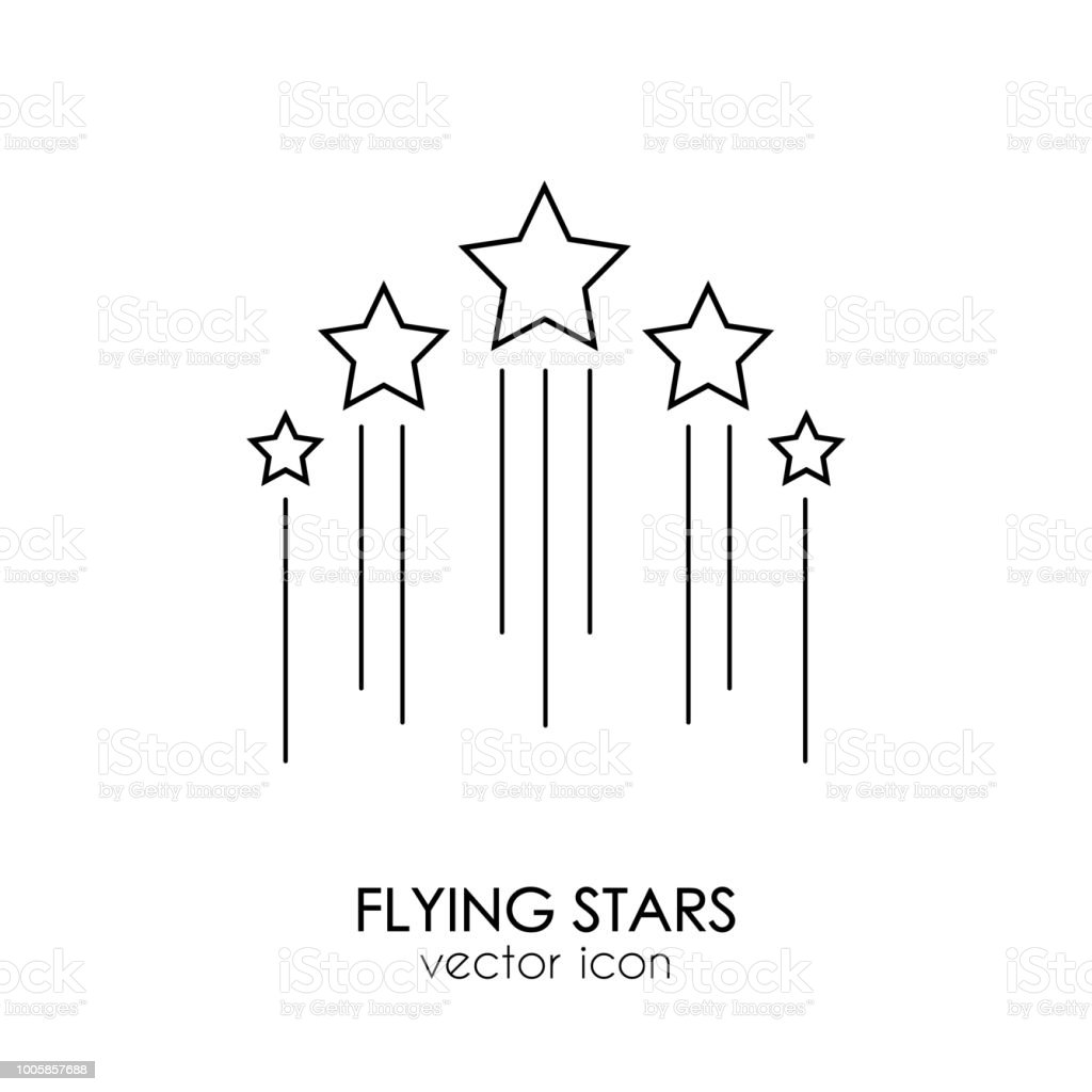 flying stars icon vector art illustration