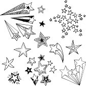 Various ornate flying stars in sketch style, Black and White