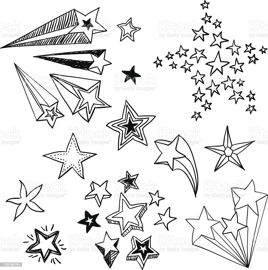 Flying Stars in black and white vector art illustration