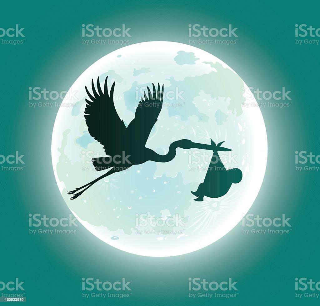 Flying Stork Deliveres Baby in Moonlight - Silhouette vector art illustration