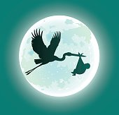 Flying Stork Deliveres Baby in Moonlight - Silhouette