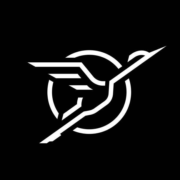 flying stork, linear logo on a dark background. - crane bird stock illustrations