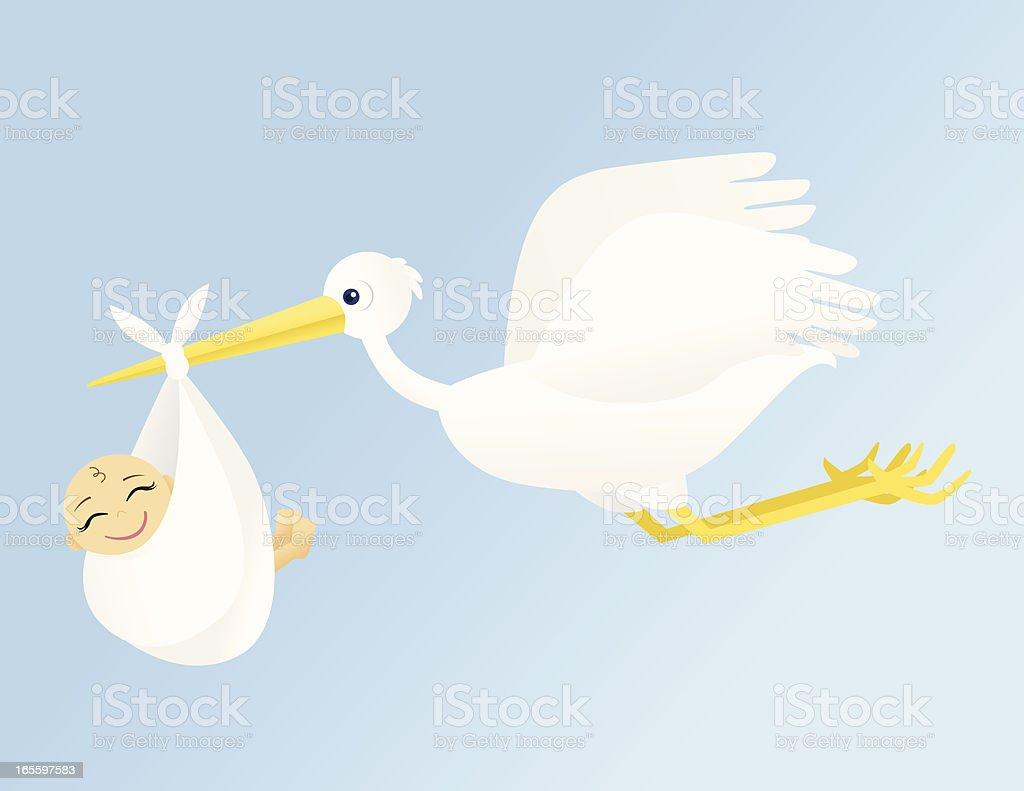 Cigüeña volando ilustración de cigüeña volando y más banco de imágenes de ala de animal libre de derechos