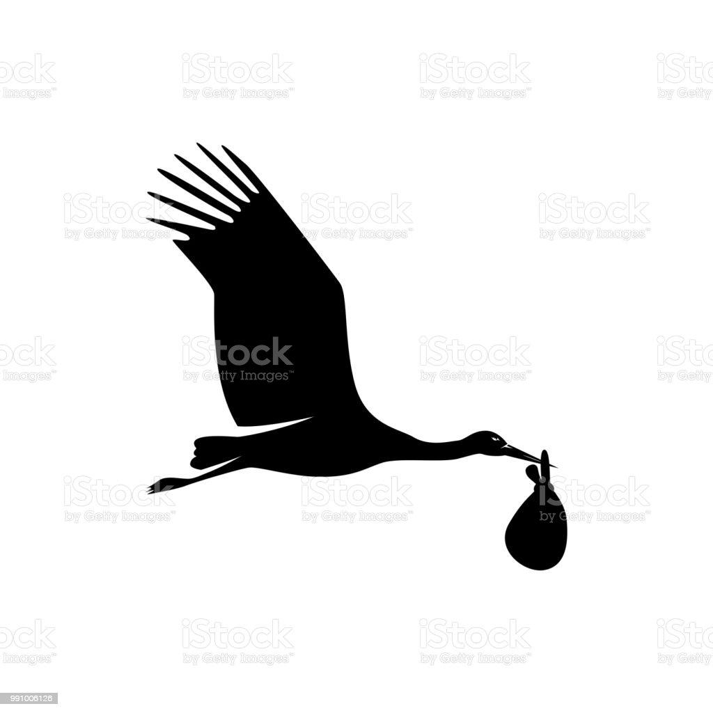 ilustração de cegonha voando com bebê e mais banco de imagens de