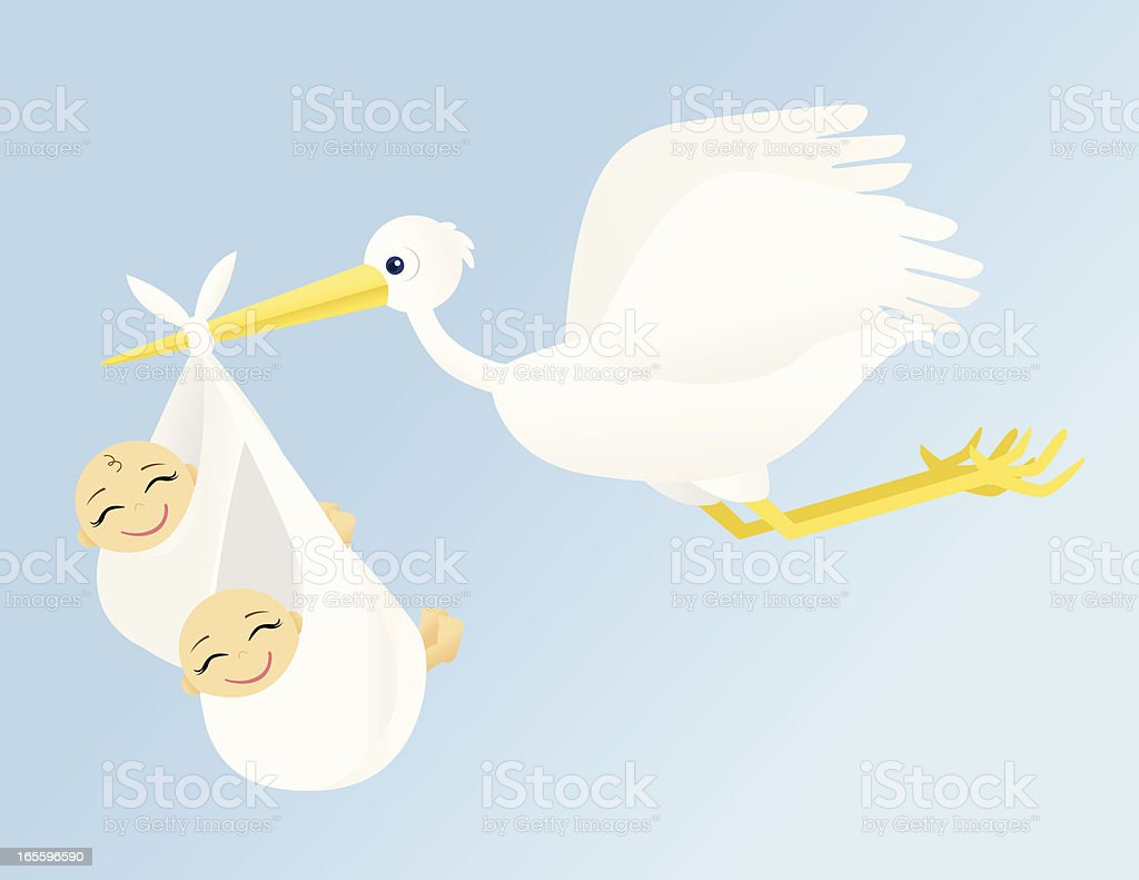 Flying Stork with Twins royalty-free flying stork with twins stock vector art & more images of animal