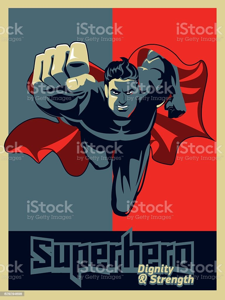 Flying superhero on camera. Blue and red graphic. vector art illustration