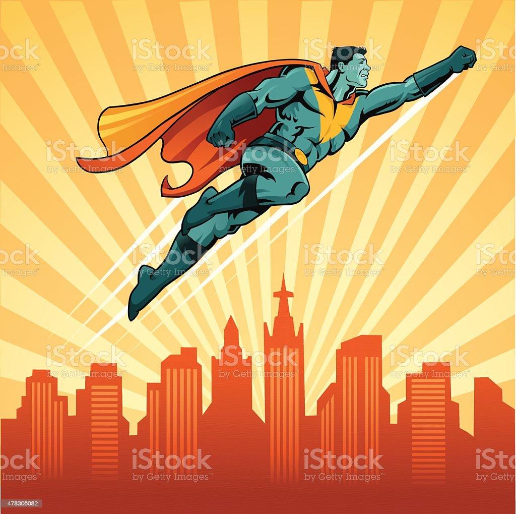 フライングスーパーヒーローの街並みを背景 ベクターアートイラスト