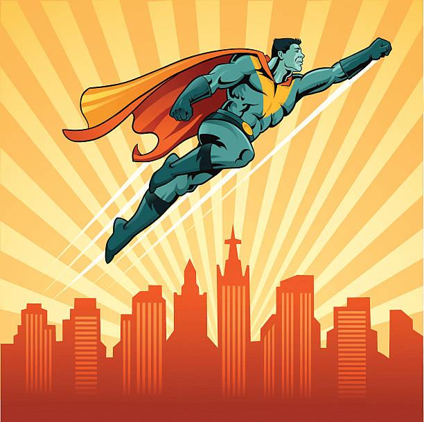 illustrations, cliparts, dessins animés et icônes de super-héros voler sur la ville avec en arrière-plan - modèles de bande dessinée