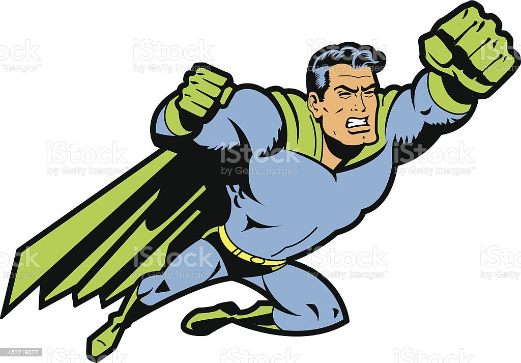 Flying Superhero With Clenched Fist vector art illustration