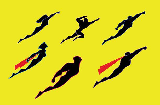 bildbanksillustrationer, clip art samt tecknat material och ikoner med flying superheroes silhouette set - superhjälte isolated