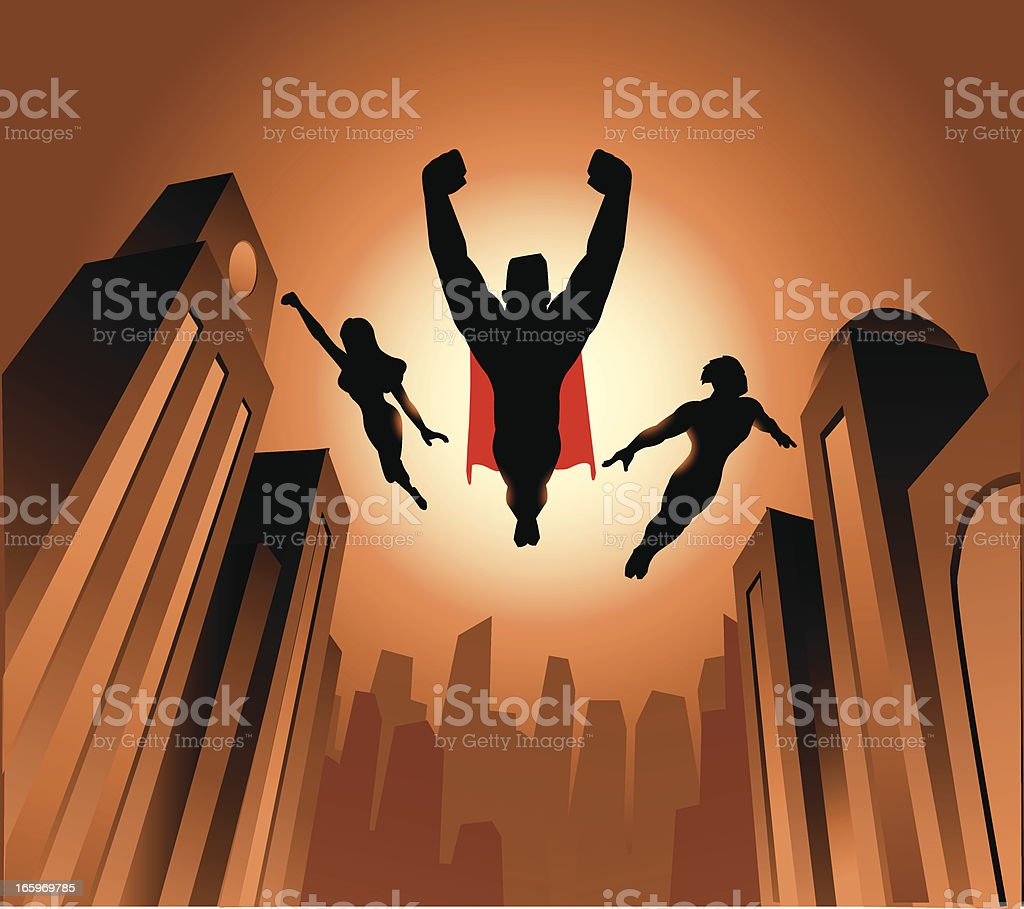 Flying Superheroes Silhouette royalty-free stock vector art