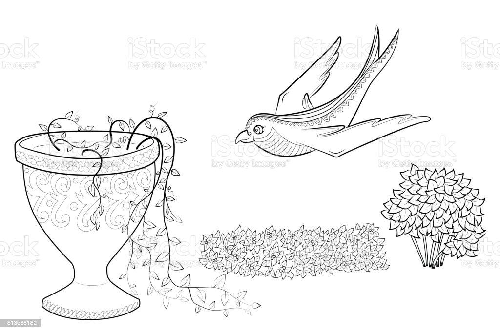 Coloriage Fleur Zen.Vole Hirondelle Fleurs Zen Enchevetrement Dans Un Vase Coloriage