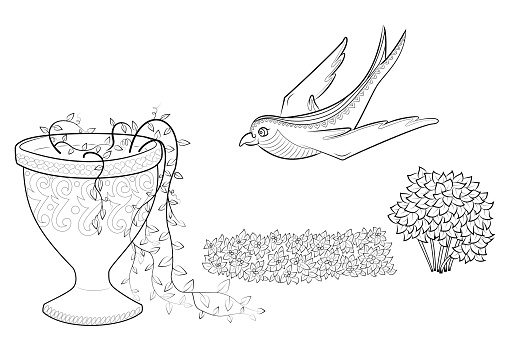 Swallow Ucan Zen Dolastirmak Bir Vazoda Cicekler Kitap Doga Ve Kus